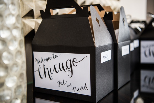 welcome to chicago gift boxes bags modern wedding black white