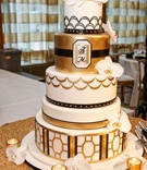White gold black vintage inspired wedding cake art deco elements scallop geometric designs