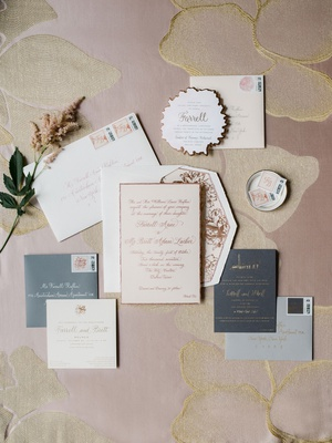 wedding invitation suite grey pink blush white rose gold peonies envelope liner