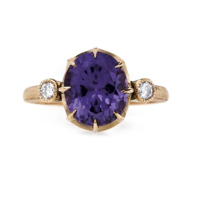 claire pettibone and trumpet and horn equinox engagement ring, purple spinel, rose gold, milgrain