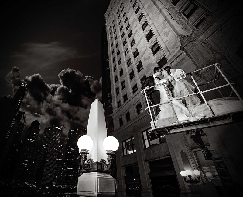 wedding destinations in new jersey%0A     black and white photo of couple on cherry picker in city of chicago in  an embrace