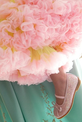 Pink ballet flats with glitter and tutu skirt