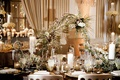 wedding reception unique modern decor white flowers greenery chain centerpiece metallic details