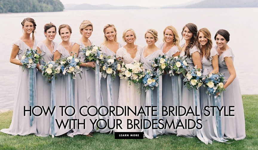 How to coordinate your bridal style with your bridesmaids wedding ensembles