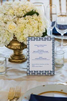 Menu card with pattern border and blue lettering