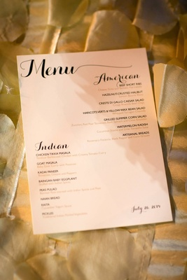 wedding reception menu with American and Indian option