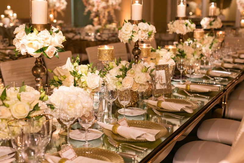 Reception décor photos mirror top table with gold
