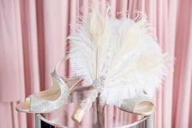 wedding shoes bridal heels jimmy choo silver peep toe metallic pumps feather fan