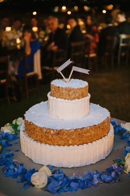 layered italian wedding cake of crunchy pastry and custard
