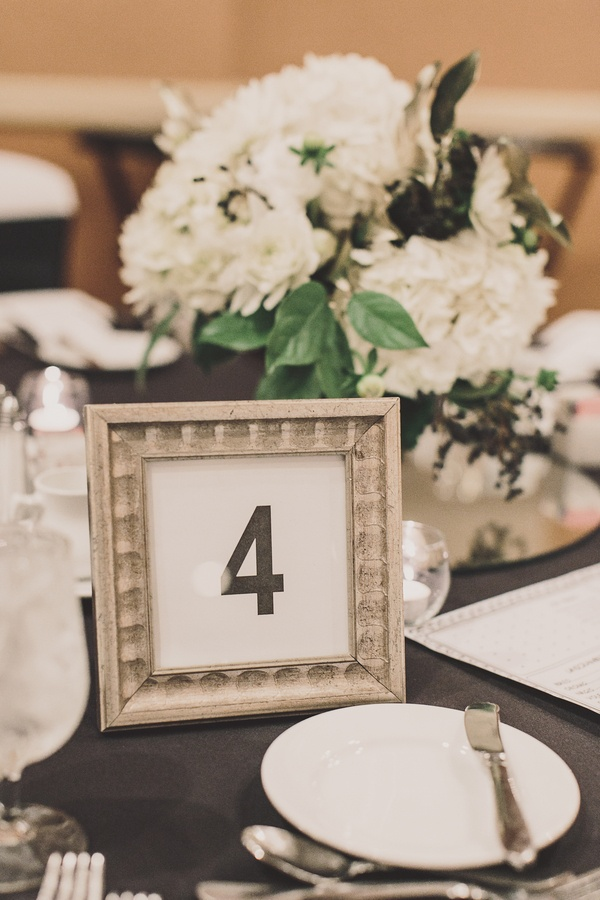 Gold painted frame with black and white table card
