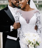 african american couple luxury wedding groom in velvet tuxedo with tails white bow tie pnina tornai