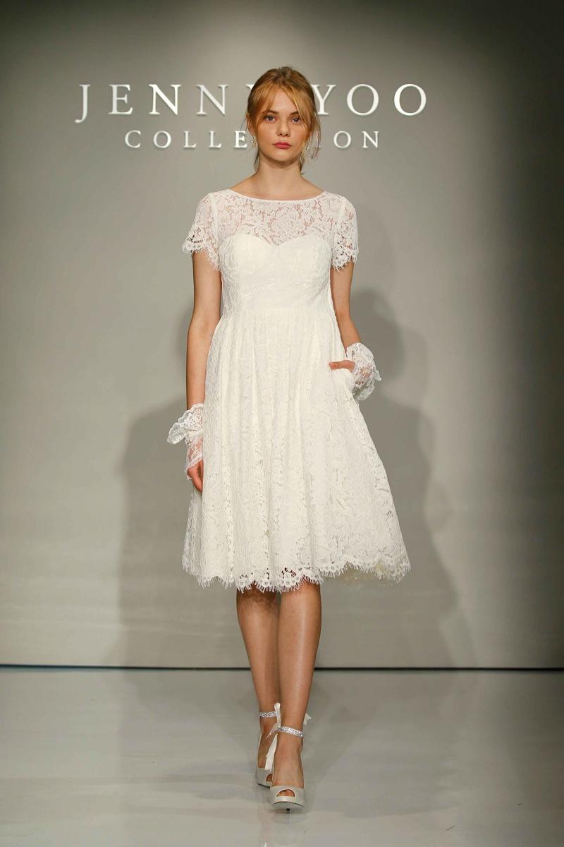 Jenny Yoo Bridal 2016 Short Sleeve Lace Wedding Dress