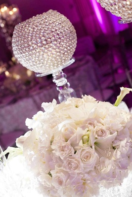 White floral arrangement and clear crystals