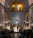 catholic wedding ceremony at St. Monica Church in santa monica, california