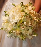 All white gardenia and rose wedding bouquet