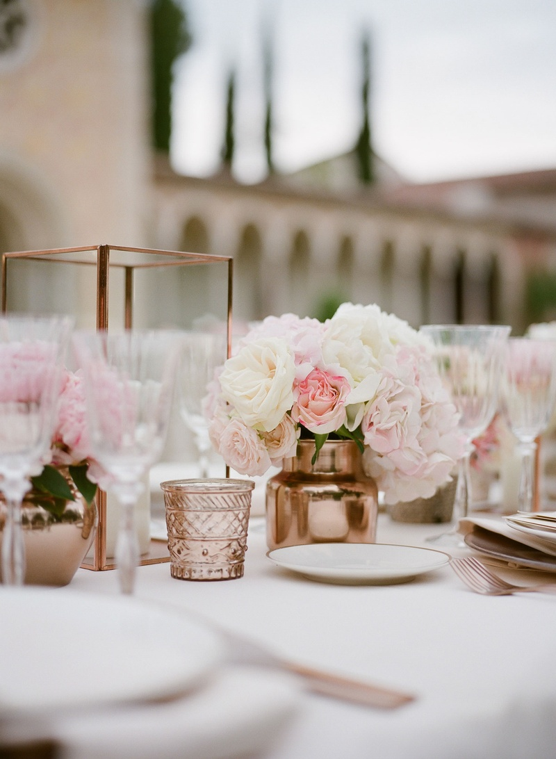 Wedding reception copper candle votive and vase low centerpiece reception decor white pink flowers