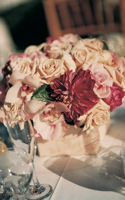 Wrapped vase with blush and white flowers