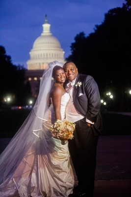 African American bride and groom at U.S. Capitol