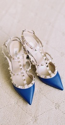 Valentino pumps with silver-studded straps