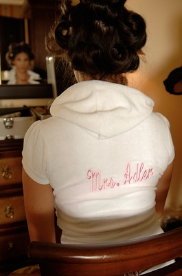 Bride wearing custom terrycloth short sleeve hoodie