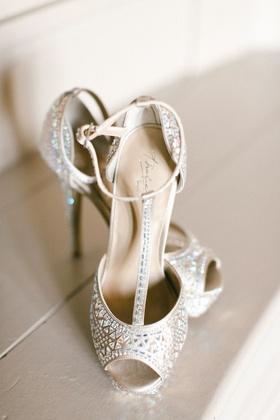 thalia sodi bridal heels, t-strap metallic heels, peep toe, geometric pattern