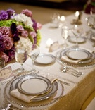 Sequined linens with beaded charger plates and china