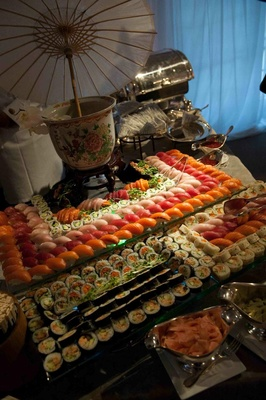 Tiered display of sushi and sashimi