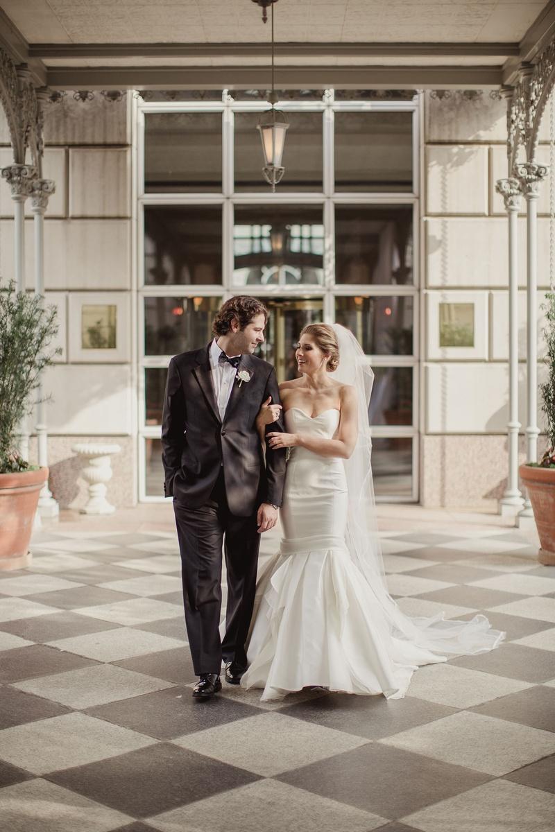 Couples Photos - Bride in Mermaid Gown & Groom in Tux - Inside Weddings