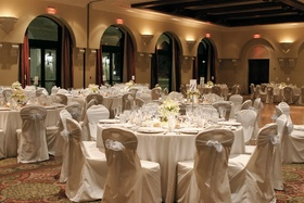 Chairs covered in fabric and simple table designs