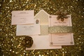Chocolate Paper Boutique invitations in gold pink blush colors