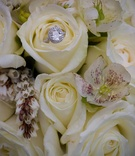 Diamond halo wedding ring on bed of white roses
