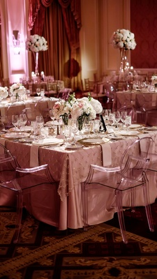 square table blush metallic palette details low floral centerpiece classic dallas wedding feminine