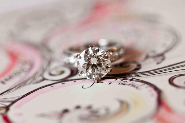 Tiffany & Co. solitaire engagement ring with diamond band