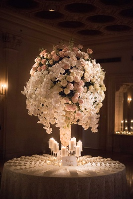 wedding reception round table escort cards candles tall centerpiece pink peony white orchid
