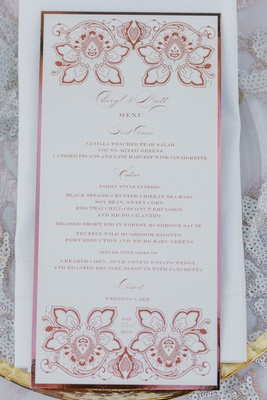 cheryl burke and matthew lawrence wedding menu lehr and black pink flower design also seen on cake