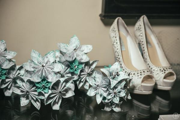 Betsey Johnson rhinestone peep-toe wedding shoes