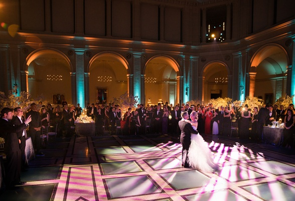 Wedding reception bride and groom dancing first dance dance floor brooklyn museum