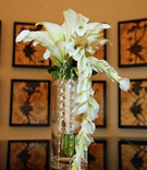 Wedding bouquet with white calla lily flowers and crystal