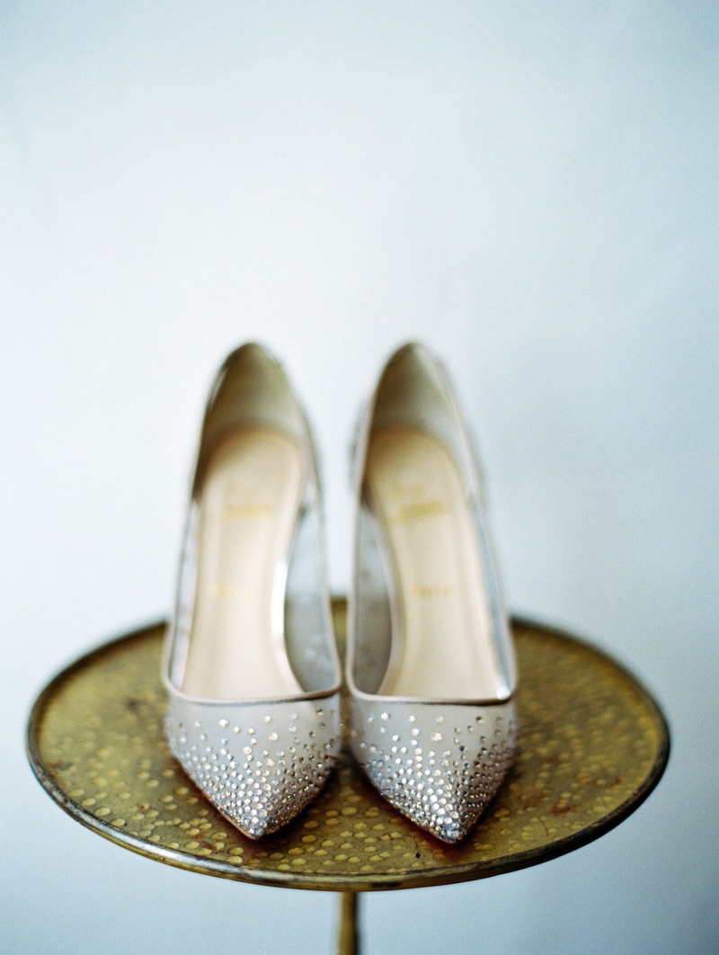 Bride's wedding day shoes sheer pumps with crystals Christian Louboutin wedding heels