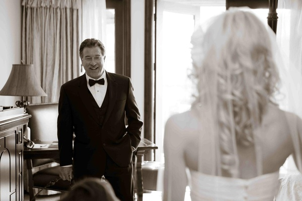 Black and white photo of father-of-the-bride