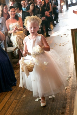 Brittany Daniel wedding ceremony flower girl flower crown white dress basket white flower petals