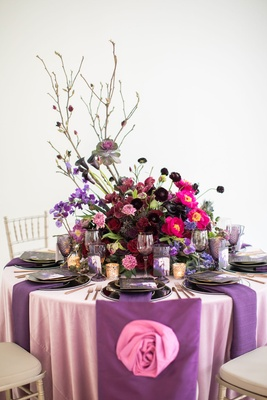 Wedding styled shoot pink linen purple chair cover pink rose embellishment large centerpiece purple