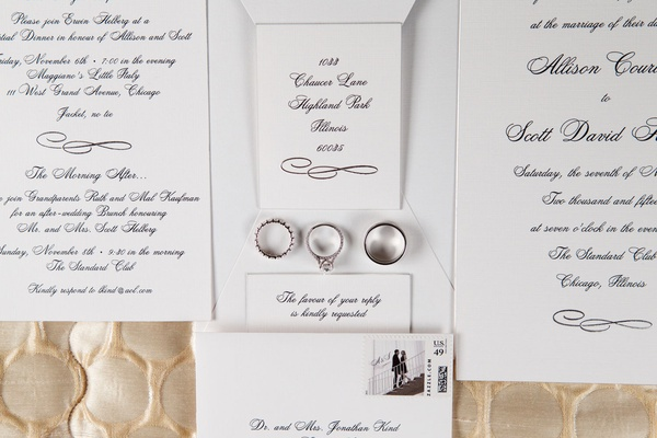Chicago wedding classic wedding invitation idea silver platinum white gold wedding rings stamp
