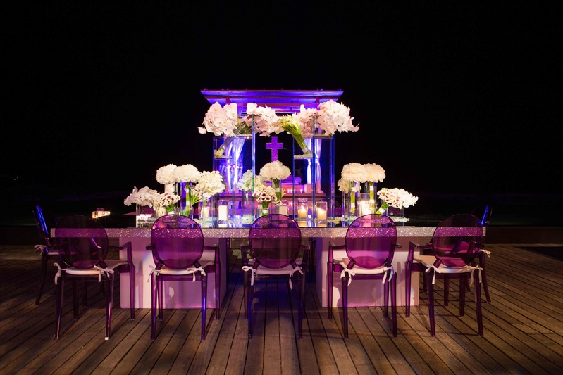Round Back Ghost Chairs In Purple At Head Reception Table