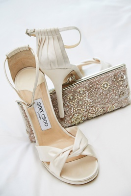 Jimmy Choo wedding day shoes peep toe satin ivory ankle strap beaded bag clutch silver pink