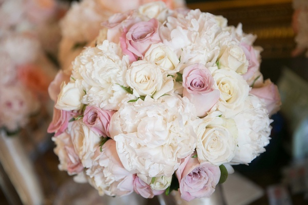 Bridal bouquet with white rose, white peony, pink rose flowers