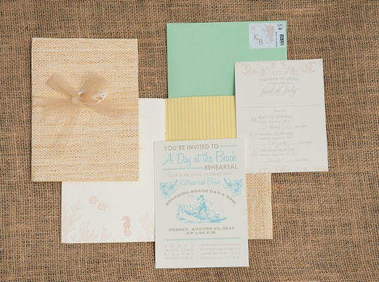 Green, yellow, and blue invites with beach motif