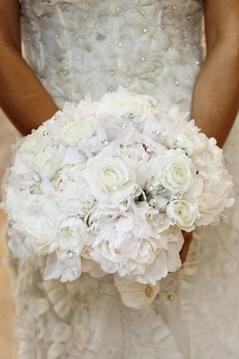 Rose and peony white bouquet with crystals