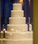 White ruffle wedding cake with round tiers