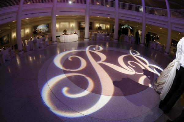 Gobo lighting with initials on dance floor
